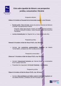 Programa - Cicle sobre Igualtat de Gènere, una perpectiva jurídica, comunicativa i literària